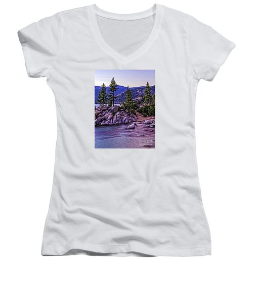 Women's V-Neck T-Shirt (Junior Cut) featuring the photograph In The Still Of Dusk by Nancy Marie Ricketts