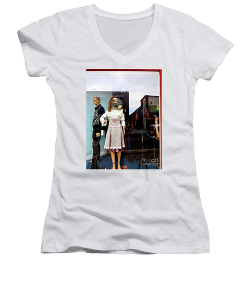 In The Window  Women's V-Neck T-Shirt (Junior Cut) by Gary Bridger