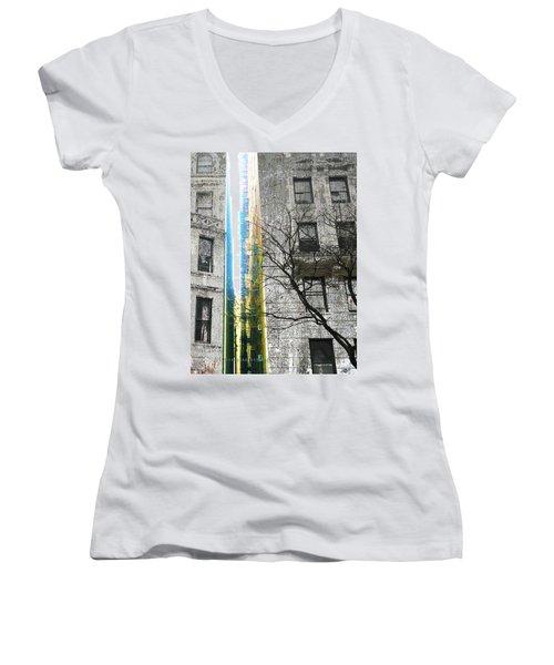 Women's V-Neck T-Shirt (Junior Cut) featuring the mixed media Inbetween  by Tony Rubino