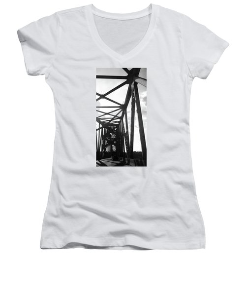Women's V-Neck T-Shirt (Junior Cut) featuring the photograph Indefinite Sight Bw by Jamie Lynn