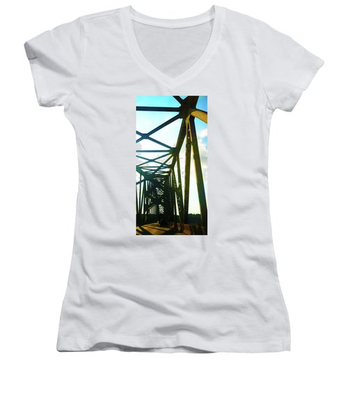 Women's V-Neck T-Shirt (Junior Cut) featuring the photograph Indefinite Sight by Jamie Lynn