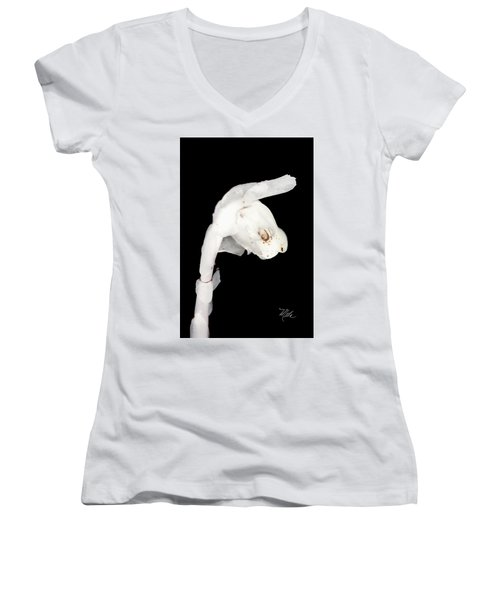 Indian Pipe Flower Women's V-Neck (Athletic Fit)