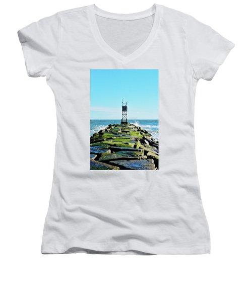 Indian River Inlet Women's V-Neck T-Shirt (Junior Cut) by William Bartholomew