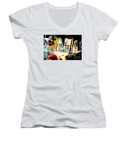 Indian Street From Window In The Bus Kerala India Women's V-Neck