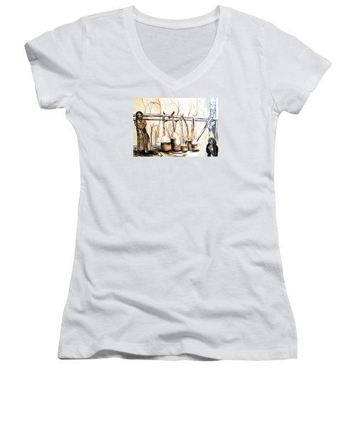 Indians Making Maple Sugar. Cass Lake. 1905  Women's V-Neck T-Shirt (Junior Cut) by Ayasha Loya