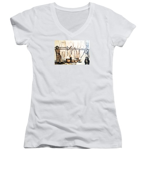 Indians Making Maple Sugar. Cass Lake. 1905  Women's V-Neck T-Shirt