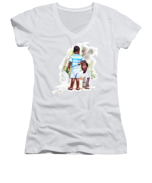 Indigenous Caribbean Kids In Panama Women's V-Neck