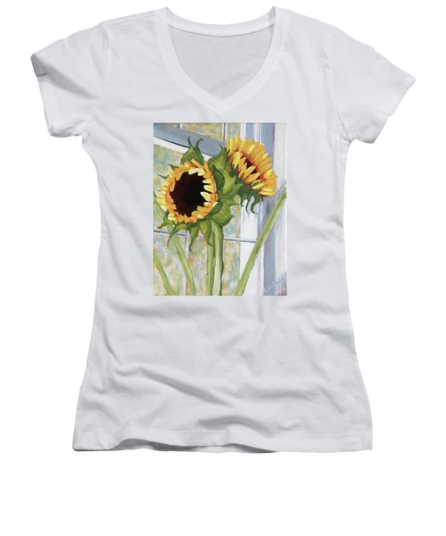 Indoor Sunflowers II Women's V-Neck (Athletic Fit)
