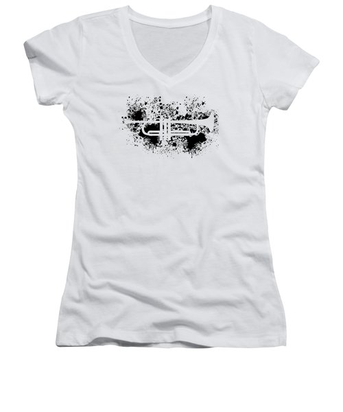 Women's V-Neck featuring the digital art Inked Trumpet by Barbara St Jean