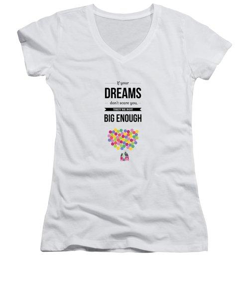 Inspirational Motivational Art Wall Quotes Poster Women's V-Neck T-Shirt