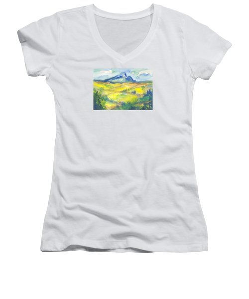 Inspired By Cezanne Women's V-Neck T-Shirt (Junior Cut) by Connie Schaertl