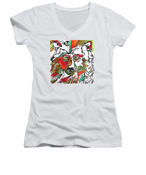 Women's V-Neck T-Shirt (Junior Cut) featuring the painting Intent by Nicole Gaitan