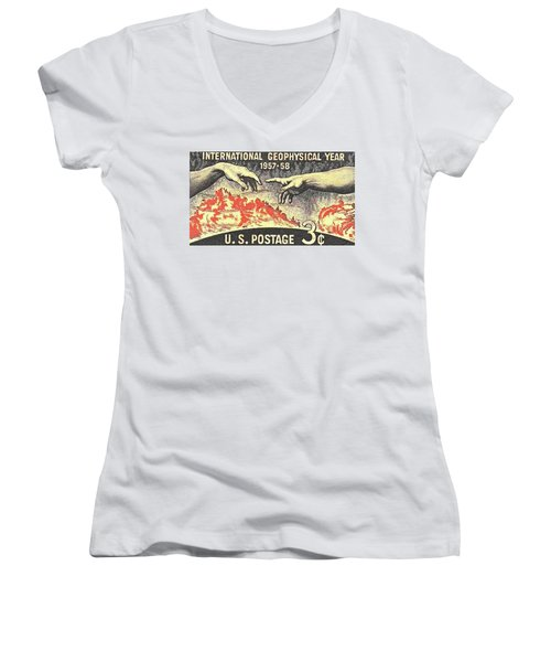International Geophysical Year Stamp Women's V-Neck
