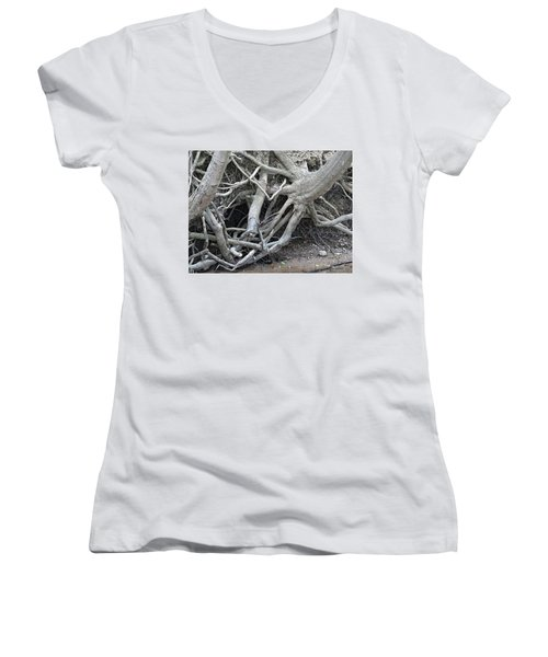 Intertwined Women's V-Neck T-Shirt (Junior Cut) by Sandra Church