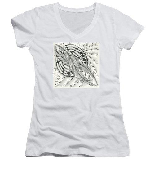 Into Orbit Women's V-Neck T-Shirt (Junior Cut) by Jan Steinle