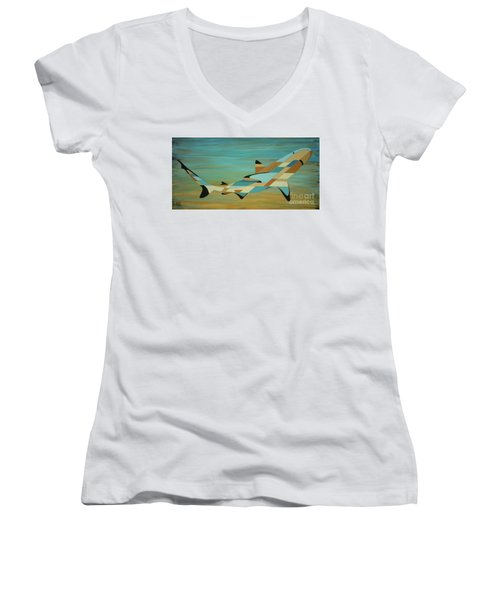 Into The Blue Shark Painting Women's V-Neck (Athletic Fit)