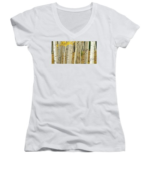 Women's V-Neck T-Shirt featuring the photograph Into The Forest by Gary Lengyel