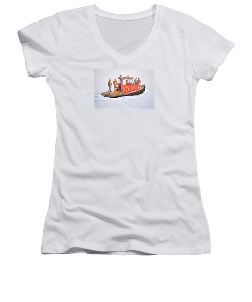 Women's V-Neck T-Shirt (Junior Cut) featuring the painting Into The Mist-the Crew Boat by Gary Giacomelli