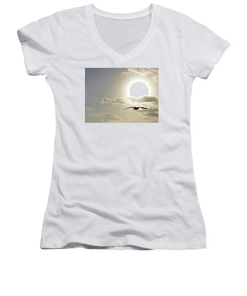 Women's V-Neck T-Shirt (Junior Cut) featuring the photograph Into The Sun by Sebastien Coursol