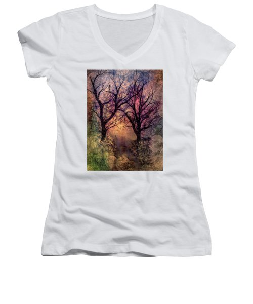 Into The Woods Women's V-Neck T-Shirt (Junior Cut) by Annette Berglund