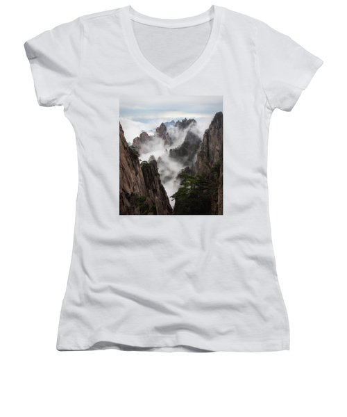 Invisible Hands Painting The Mountains. Women's V-Neck