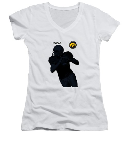 Iowa Football  Women's V-Neck T-Shirt (Junior Cut) by David Dehner