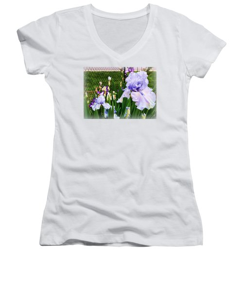 Iris At Fence Women's V-Neck T-Shirt (Junior Cut) by Larry Bishop