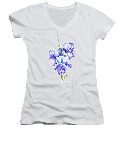Iris Blooms Women's V-Neck (Athletic Fit)