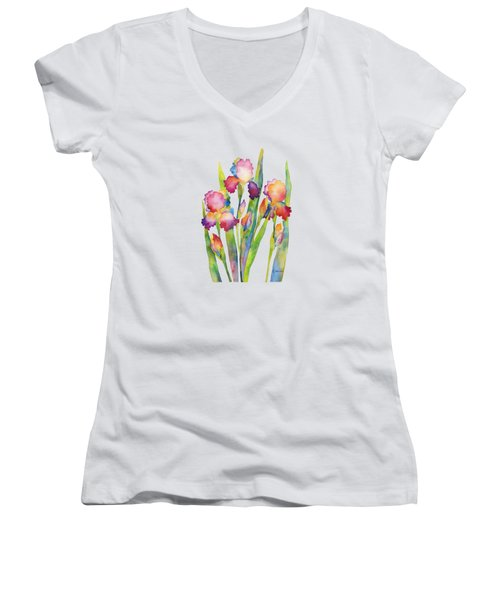 Women's V-Neck T-Shirt (Junior Cut) featuring the painting Iris Elegance by Hailey E Herrera
