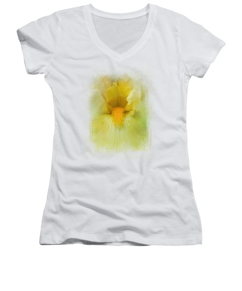 Iris In Lime Women's V-Neck T-Shirt (Junior Cut) by Jai Johnson