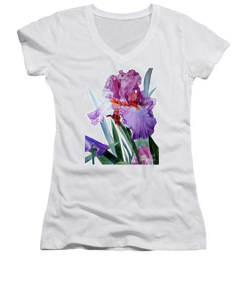Watercolor Of A Tall Bearded Iris In Pink, Lilac And Red I Call Iris Pavarotti Women's V-Neck T-Shirt