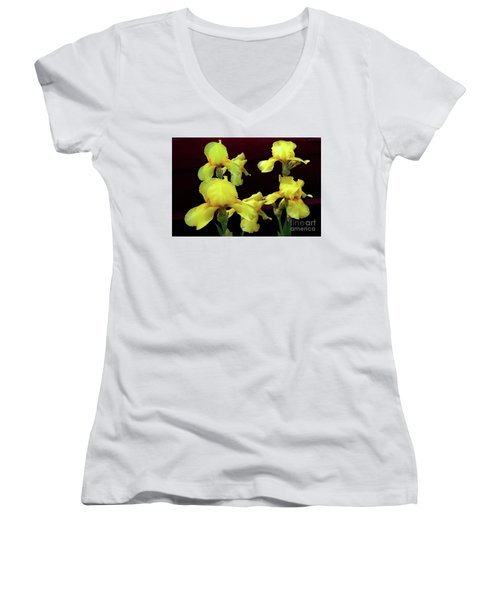 Women's V-Neck T-Shirt (Junior Cut) featuring the photograph Irises Yellow by Jasna Dragun