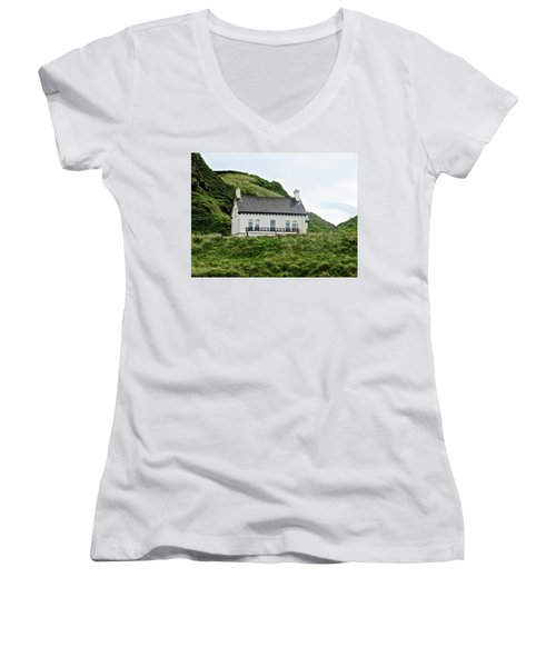 Irish Cottage Women's V-Neck T-Shirt (Junior Cut) by Stephanie Moore