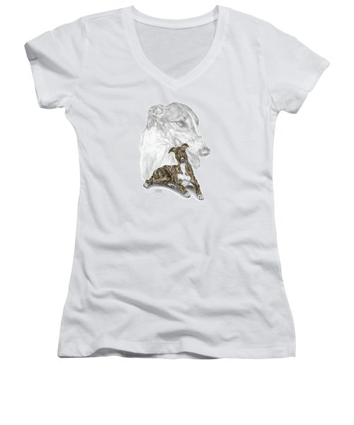 Irresistible - Greyhound Dog Print Color Tinted Women's V-Neck T-Shirt (Junior Cut) by Kelli Swan