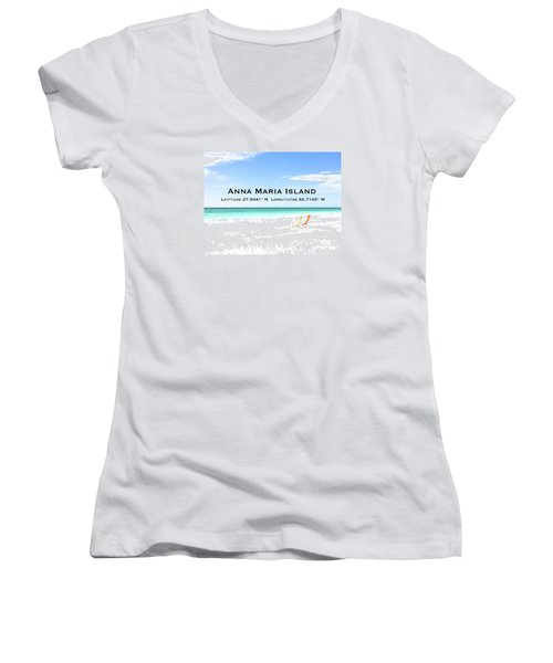 Island Breezes Women's V-Neck T-Shirt (Junior Cut) by Margie Amberge