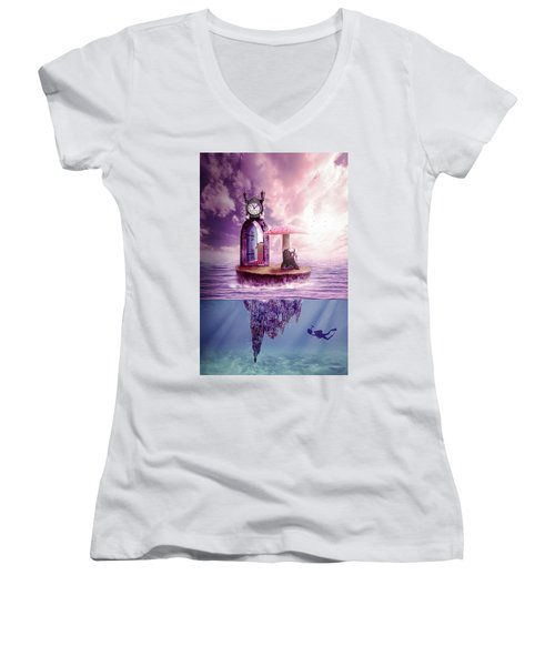 Island Dreaming Women's V-Neck T-Shirt (Junior Cut) by Nathan Wright