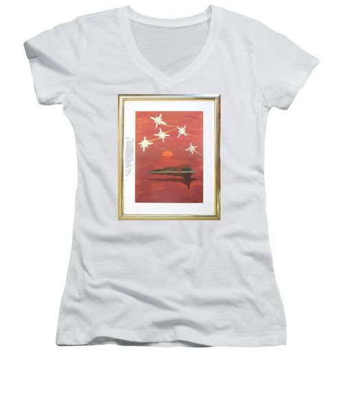 Women's V-Neck T-Shirt (Junior Cut) featuring the painting Island In The Sky With Diamonds by Ron Davidson
