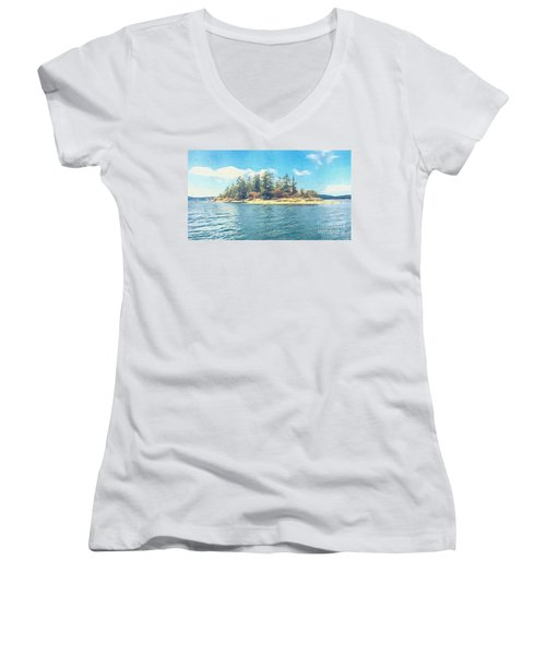 Women's V-Neck T-Shirt (Junior Cut) featuring the photograph Island In The Sound by William Wyckoff