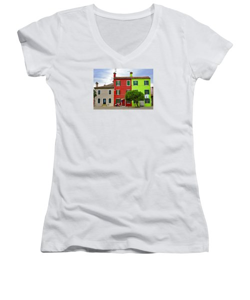 Island Of Burano Tranquility Women's V-Neck T-Shirt