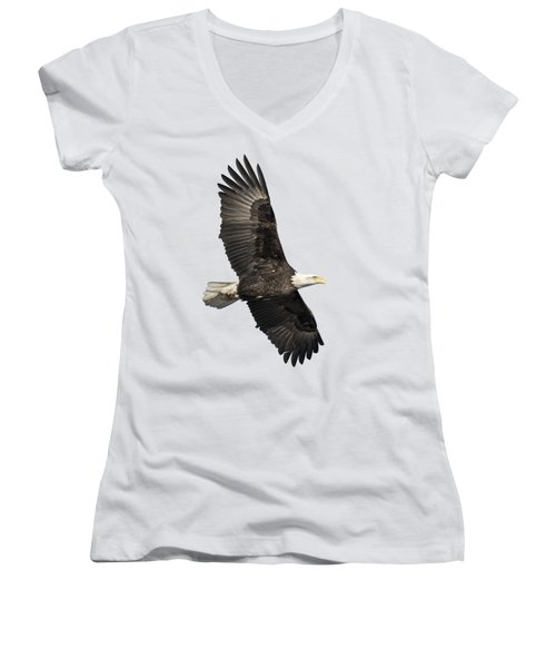 Isolated American Bald Eagle 2016-4 Women's V-Neck T-Shirt (Junior Cut) by Thomas Young