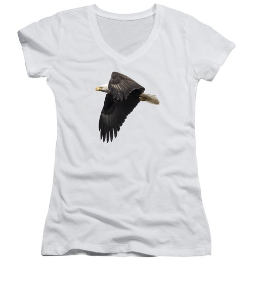 Isolated American Bald Eagle 2016-6 Women's V-Neck T-Shirt (Junior Cut) by Thomas Young