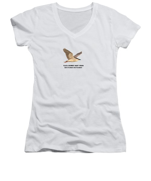 Isolated Black-crowned Night Heron 2017-6 Women's V-Neck T-Shirt (Junior Cut) by Thomas Young
