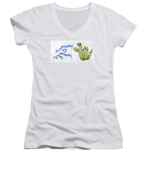 Women's V-Neck T-Shirt (Junior Cut) featuring the drawing Israel by Annemeet Hasidi- van der Leij