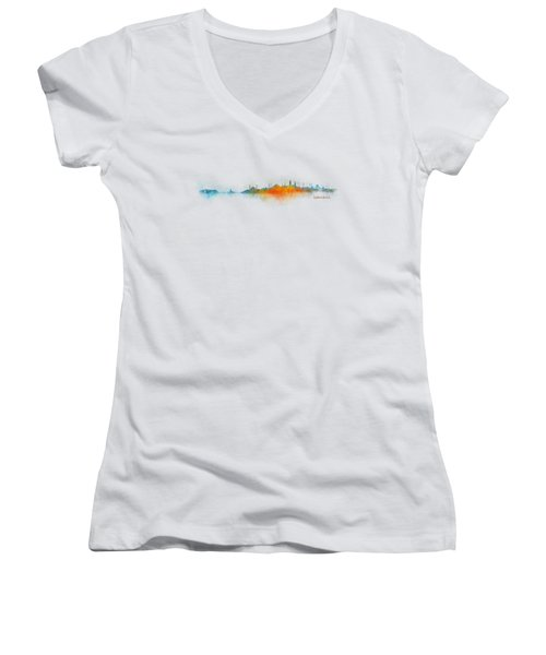 Istanbul City Skyline Hq V03 Women's V-Neck T-Shirt (Junior Cut) by HQ Photo