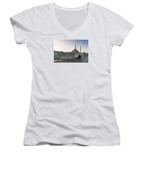 Women's V-Neck T-Shirt (Junior Cut) featuring the photograph Istanbul From The Galata Bridge by Yuri Santin
