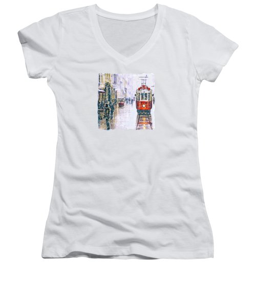 Istanbul Nostalgic Tramway Women's V-Neck (Athletic Fit)