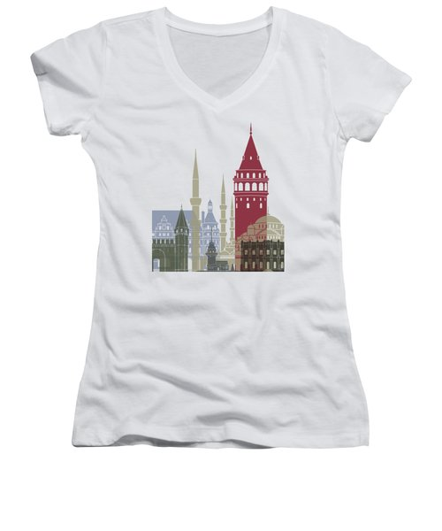 Istanbul Skyline Poster Women's V-Neck T-Shirt (Junior Cut) by Pablo Romero
