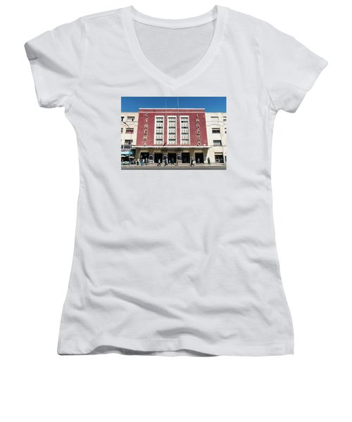 Italian Colonial Art Deco Old Cinema Building In Asmara Eritrea Women's V-Neck (Athletic Fit)