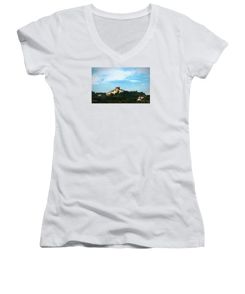 Women's V-Neck T-Shirt (Junior Cut) featuring the photograph Italian Countryside by Kathleen Scanlan