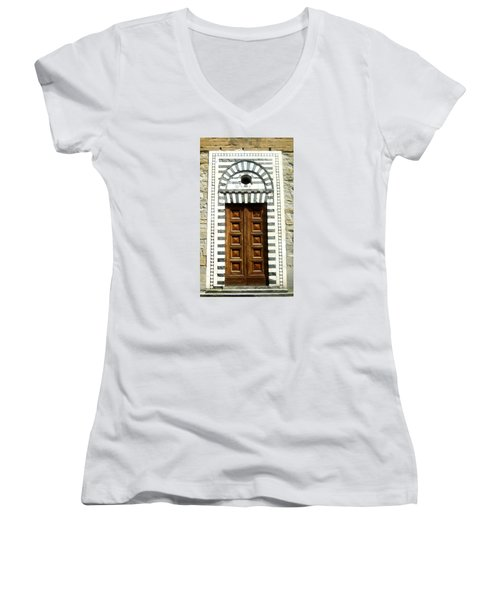 Italy, Door, Florence, Firenze Women's V-Neck T-Shirt